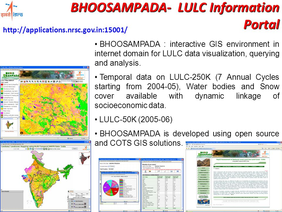 BHOOSAMPADA : interactive GIS environment in internet domain for LULC data visualization, querying and analysis.