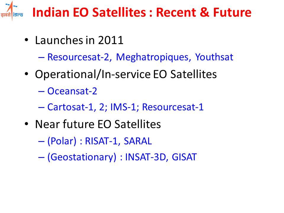 Indian EO Satellites : Recent & Future Launches in 2011 – Resourcesat-2, Meghatropiques, Youthsat Operational/In-service EO Satellites – Oceansat-2 –