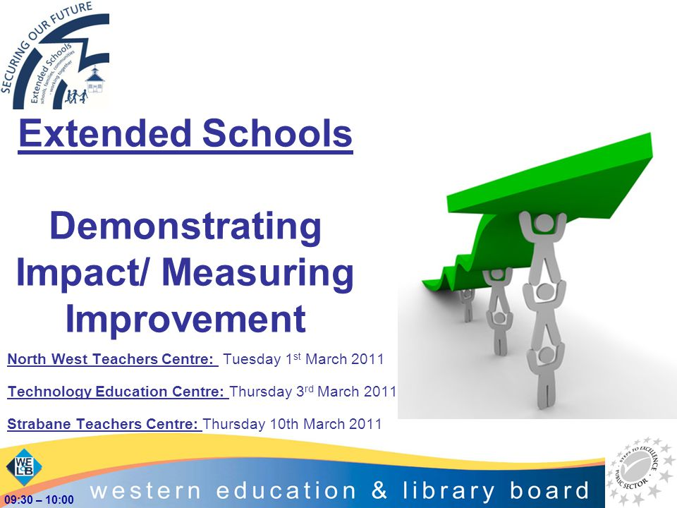 Extended Schools Demonstrating Impact/ Measuring Improvement North West Teachers Centre: Tuesday 1 st March 2011 Technology Education Centre: Thursday
