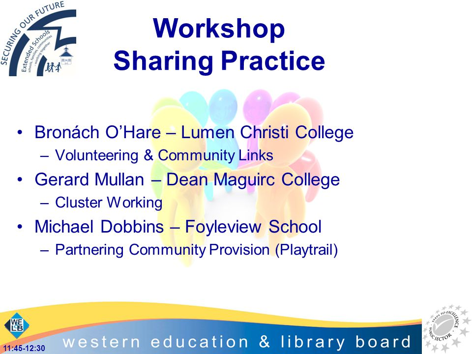 Workshop Sharing Practice Bronách O'Hare – Lumen Christi College –Volunteering & Community Links Gerard Mullan – Dean Maguirc College –Cluster Working