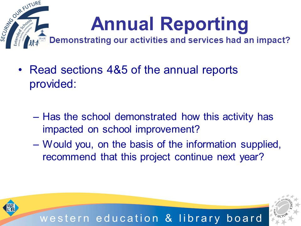 Annual Reporting Demonstrating our activities and services had an impact? Read sections 4&5 of the annual reports provided: –Has the school demonstrat