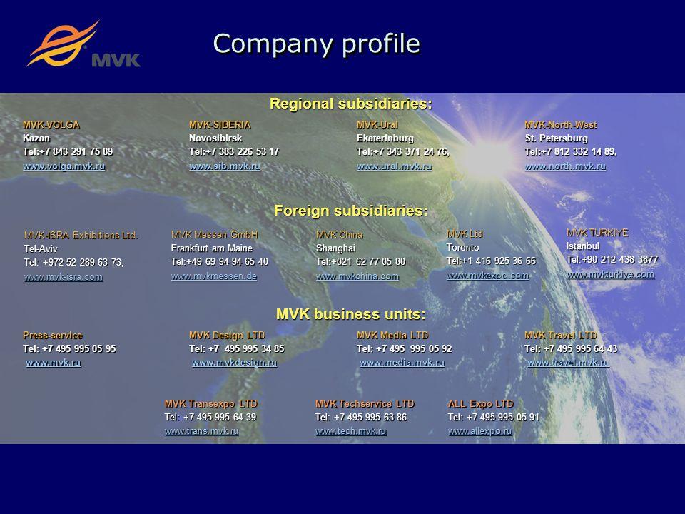 Company profile Regional subsidiaries: MVK-VOLGA Kazan Tel:+7 843 291 75 89 www.volga.mvk.ru MVK-SIBERIA Novosibirsk Tel:+7 383 226 53 17 www.sib.mvk.