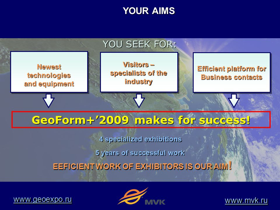 YOUR AIMS OBTAIN SUCCESS MAINTAIN BUSINESS Newest technologies and equipment Efficient platform for Business contacts 4 specialized exhibitions Visitors – specialists of the industry EEFICIENT WORK OF EXHIBITORS IS OUR AIM.