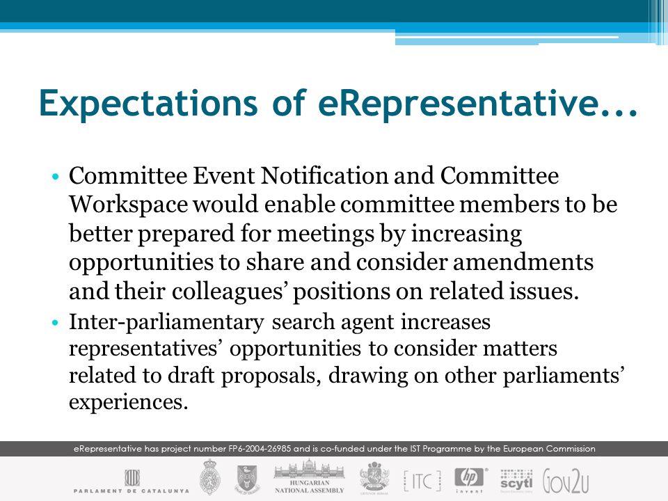 Expectations of eRepresentative...
