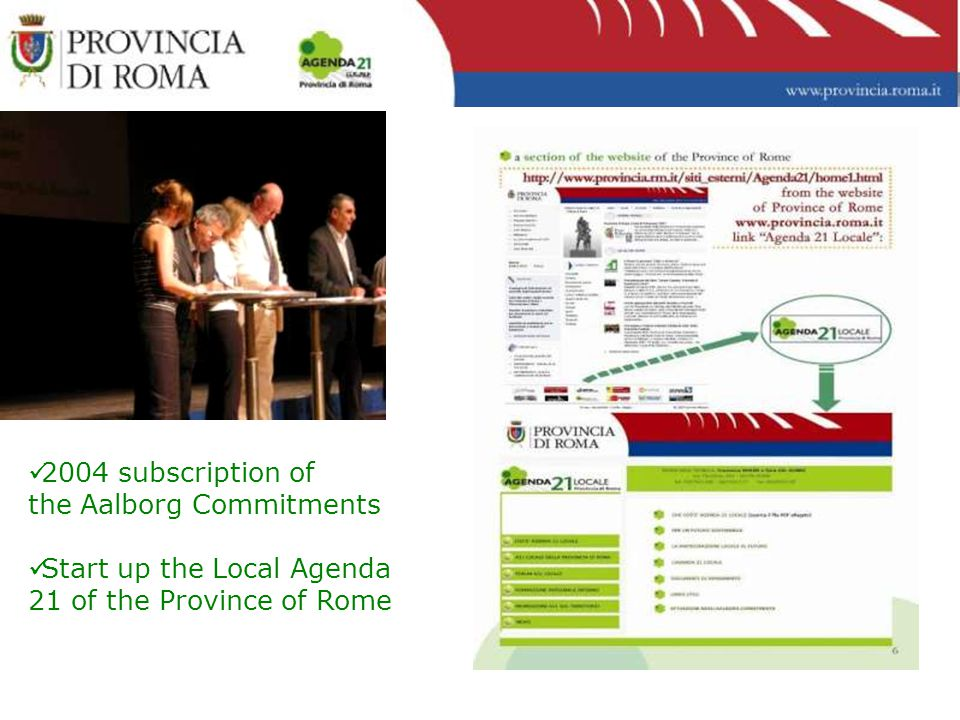 2004 subscription of the Aalborg Commitments Start up the Local Agenda 21 of the Province of Rome