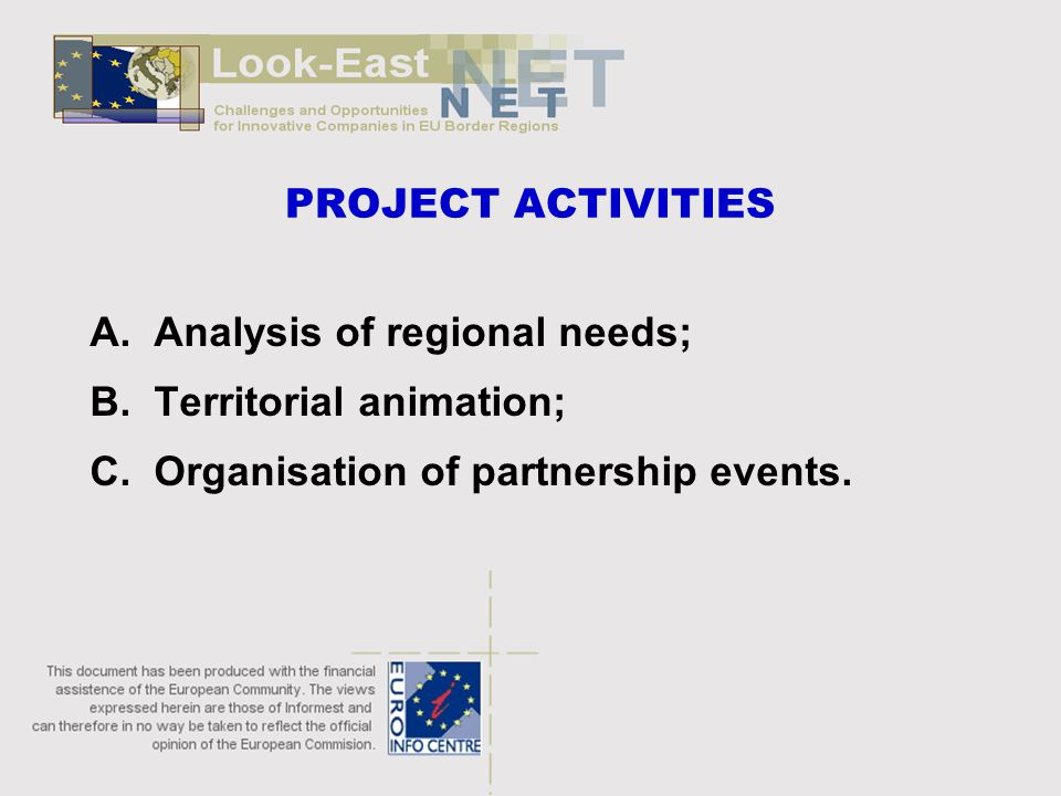 PROJECT ACTIVITIES A. Analysis of regional needs; B.