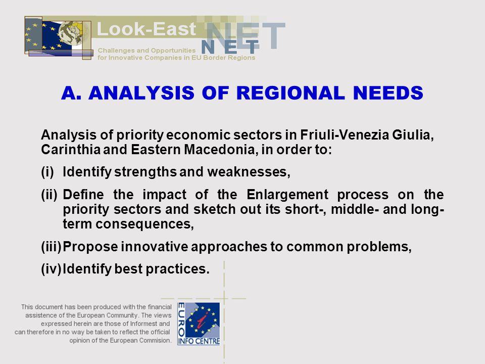 A. ANALYSIS OF REGIONAL NEEDS Analysis of priority economic sectors in Friuli-Venezia Giulia, Carinthia and Eastern Macedonia, in order to: (i)Identif