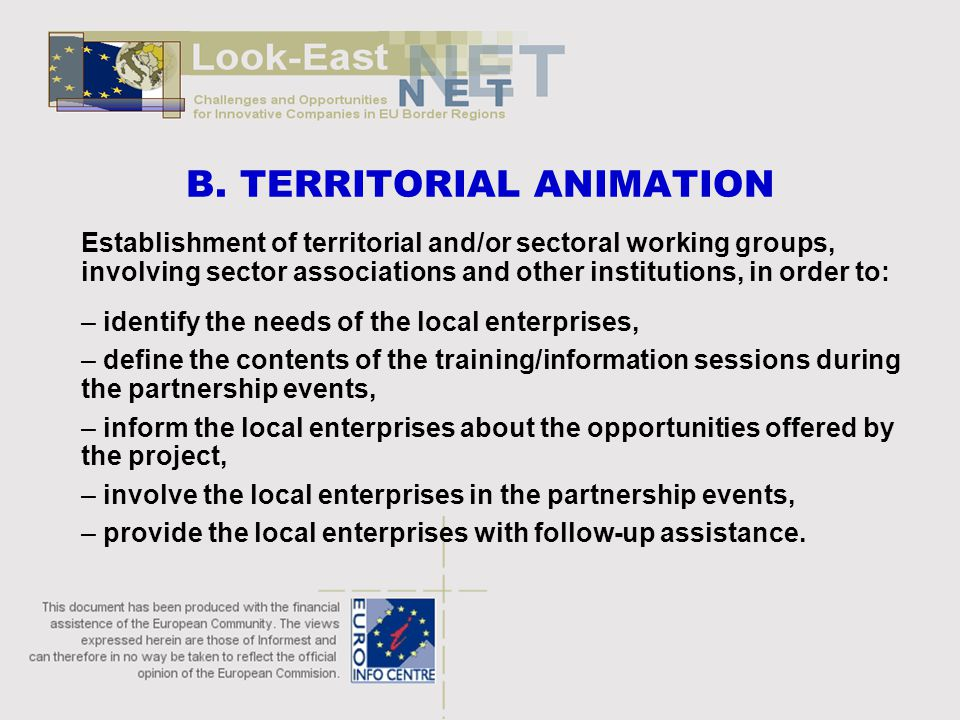 B. TERRITORIAL ANIMATION Establishment of territorial and/or sectoral working groups, involving sector associations and other institutions, in order t