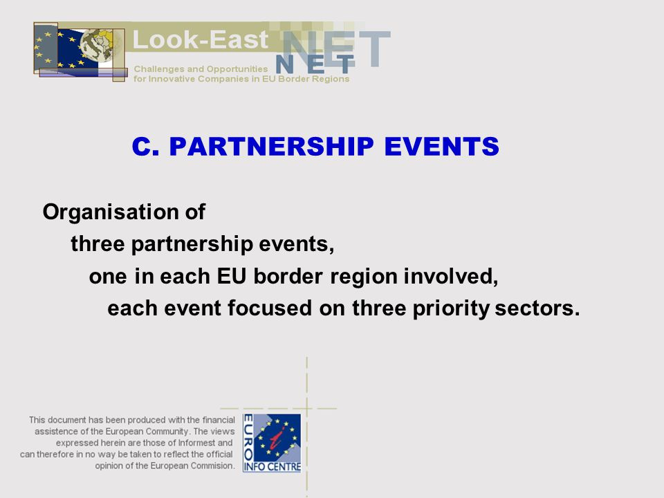 C. PARTNERSHIP EVENTS Organisation of three partnership events, one in each EU border region involved, each event focused on three priority sectors.