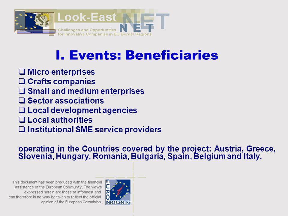I. Events: Beneficiaries  Micro enterprises  Crafts companies  Small and medium enterprises  Sector associations  Local development agencies  Lo