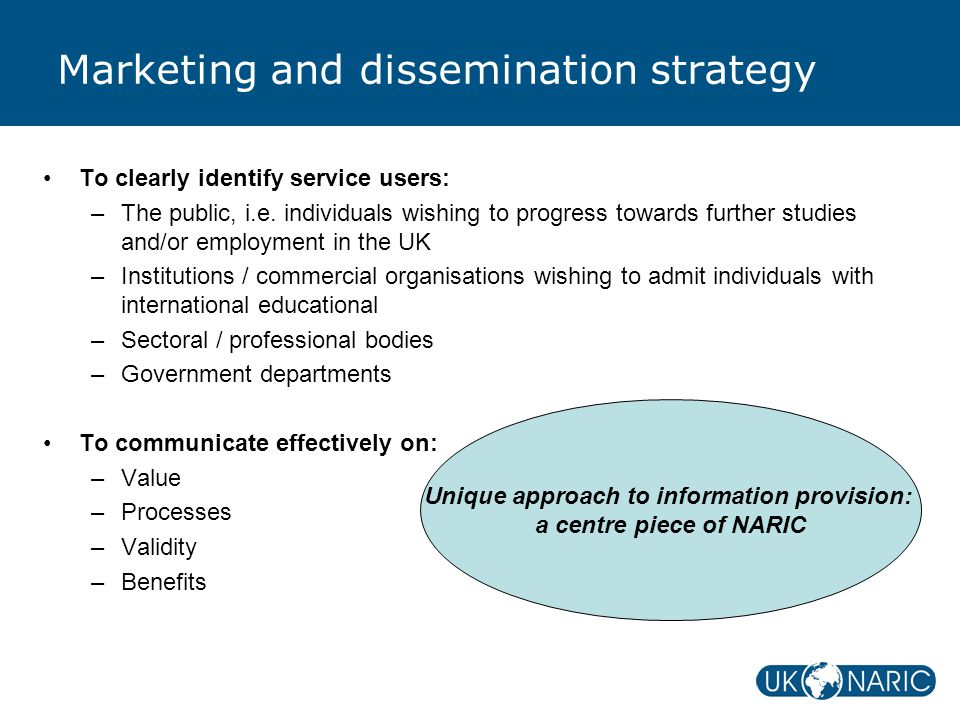 Marketing and dissemination strategy To clearly identify service users: –The public, i.e.