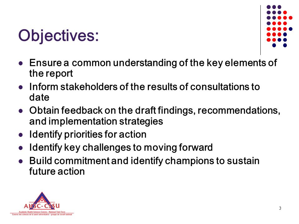 3 Objectives: Ensure a common understanding of the key elements of the report Inform stakeholders of the results of consultations to date Obtain feedback on the draft findings, recommendations, and implementation strategies Identify priorities for action Identify key challenges to moving forward Build commitment and identify champions to sustain future action