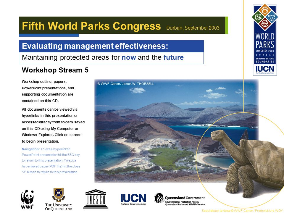 Maintaining protected areas for now and the future Fifth World Parks Congress Durban, September 2003 Evaluating management effectiveness: Workshop Str