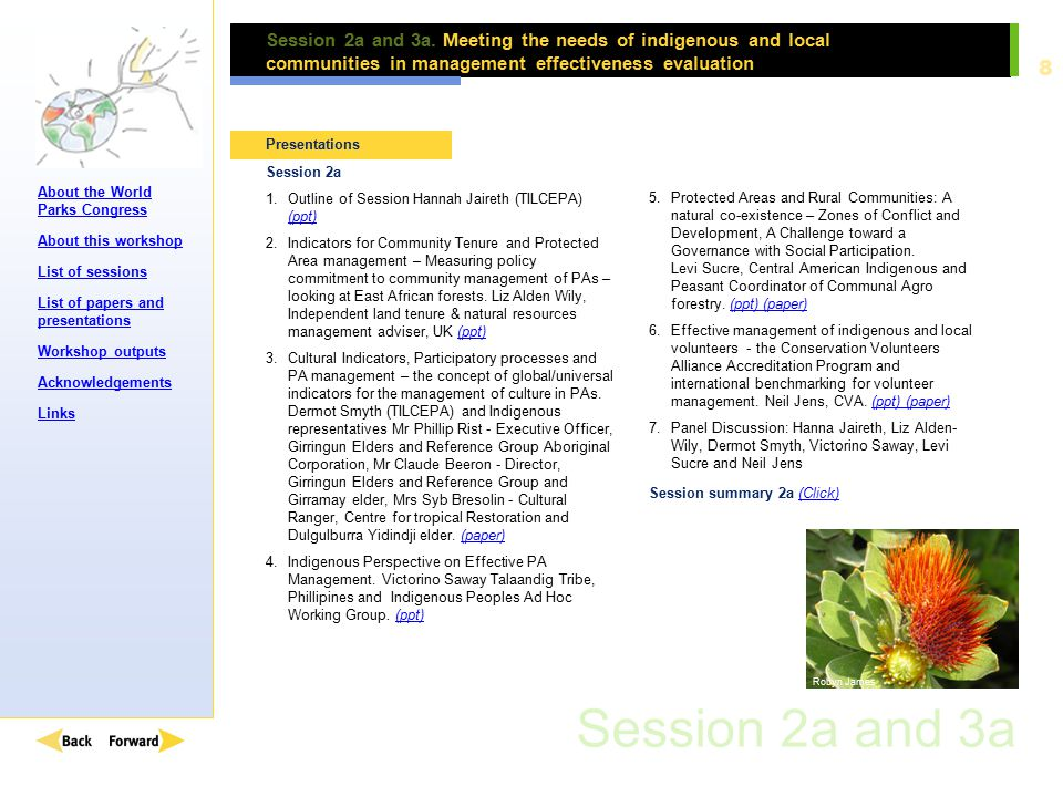About the World Parks Congress About this workshop List of sessions List of papers and presentations Workshop outputs Acknowledgements Links 9 Session 2a and 3a.