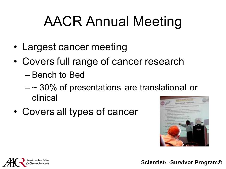 Scientist↔Survivor Program® AACR Annual Meeting Largest cancer meeting Covers full range of cancer research –Bench to Bed –~ 30% of presentations are translational or clinical Covers all types of cancer