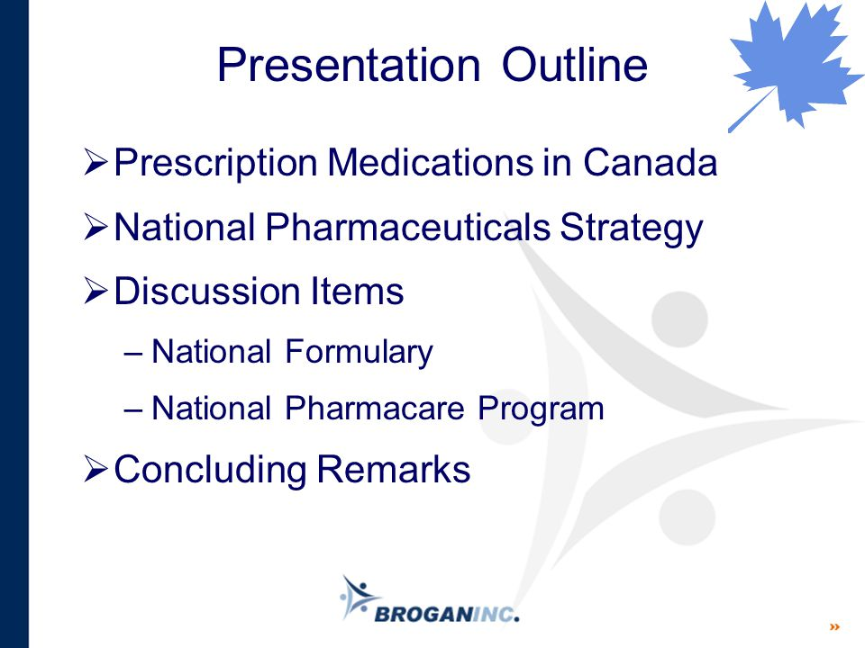 Presentation Outline  Prescription Medications in Canada  National Pharmaceuticals Strategy  Discussion Items –National Formulary –National Pharmac