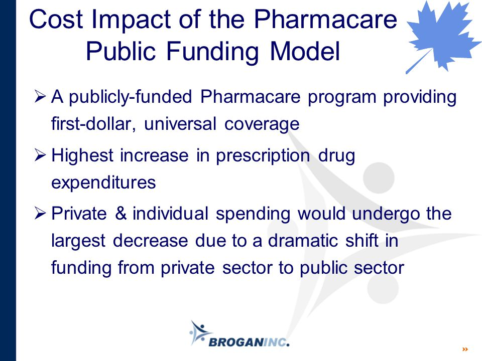 Cost Impact of the Pharmacare Public Funding Model  A publicly-funded Pharmacare program providing first-dollar, universal coverage  Highest increas