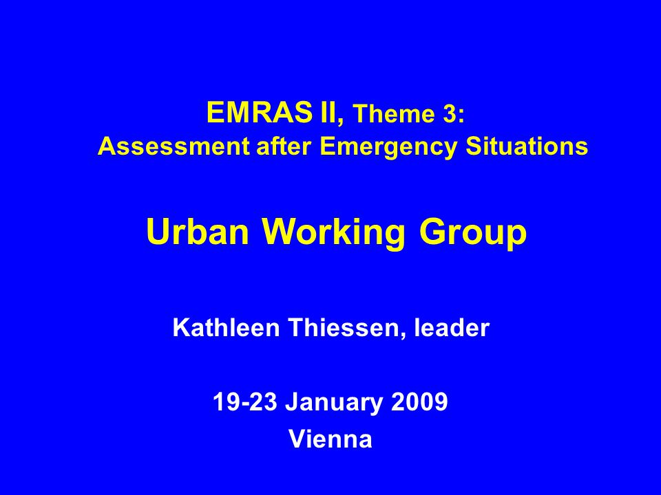 Preliminary working plan Three modelling exercises identified –Atmospheric dispersion, short-range –Atmospheric dispersion, longer-range –Contaminant transport and countermeasures Draft scenarios by interim meeting Preliminary calculations by next plenary meeting