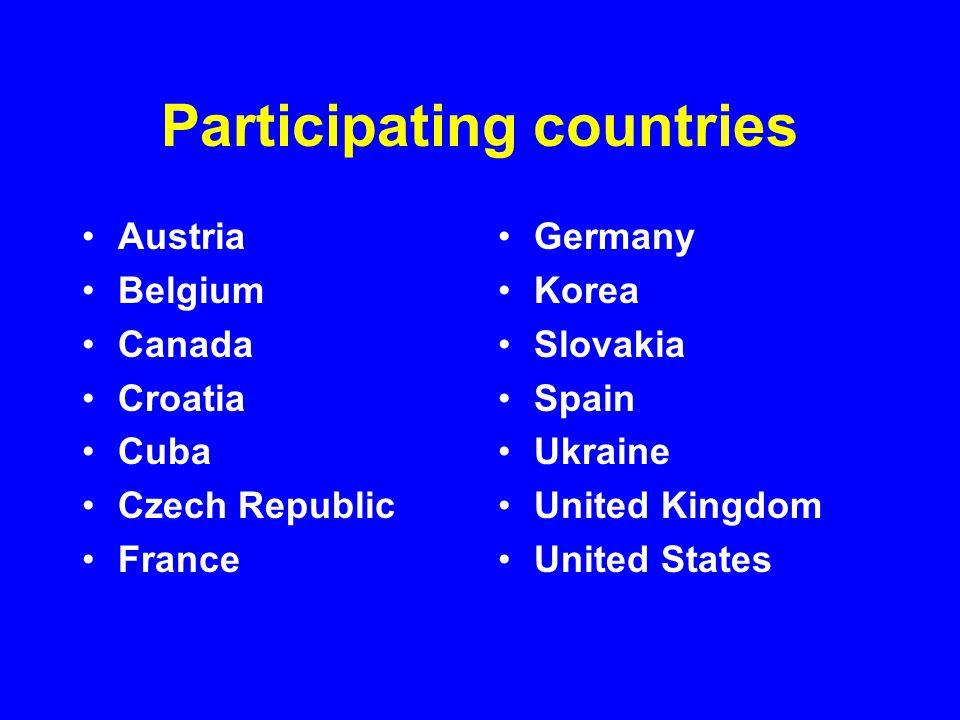 Participating countries Austria Belgium Canada Croatia Cuba Czech Republic France Germany Korea Slovakia Spain Ukraine United Kingdom United States
