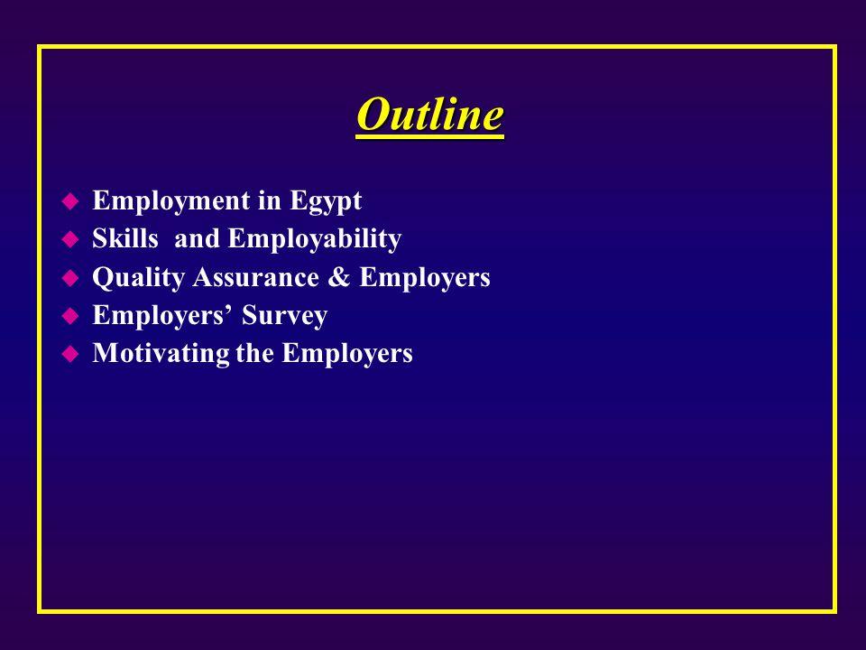 Outline u Employment in Egypt u Skills and Employability u Quality Assurance & Employers u Employers' Survey u Motivating the Employers