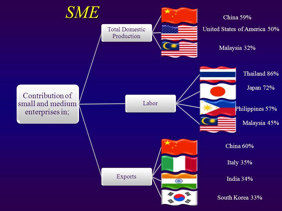 SME China 59% United States of America 50% Malaysia 32% Thailand 86% Japan 72% Philippines 57% Malaysia 45% China 60% Italy 35% India 34% South Korea