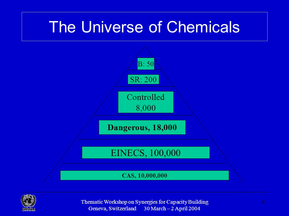 Thematic Workshop on Synergies for Capacity Building Geneva, Switzerland 30 March – 2 April 2004 6 The Universe of Chemicals CAS, 10,000,000 EINECS, 100,000 Dangerous, 18,000 Controlled 8,000 SR: 200 B: 50