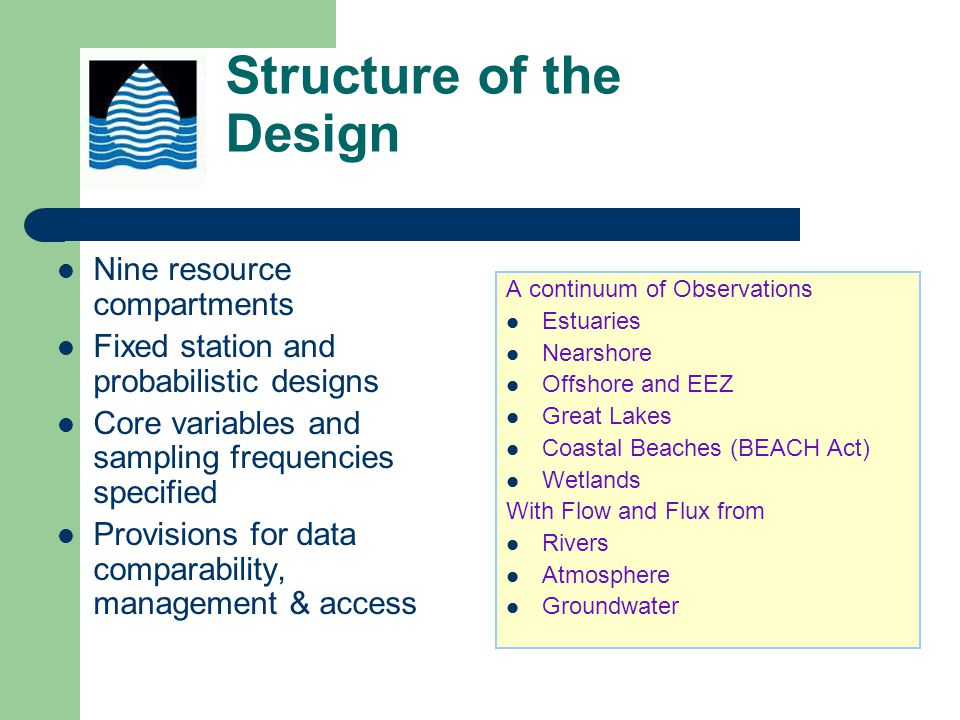 Structure of the Design Nine resource compartments Fixed station and probabilistic designs Core variables and sampling frequencies specified Provisions for data comparability, management & access A continuum of Observations Estuaries Nearshore Offshore and EEZ Great Lakes Coastal Beaches (BEACH Act) Wetlands With Flow and Flux from Rivers Atmosphere Groundwater