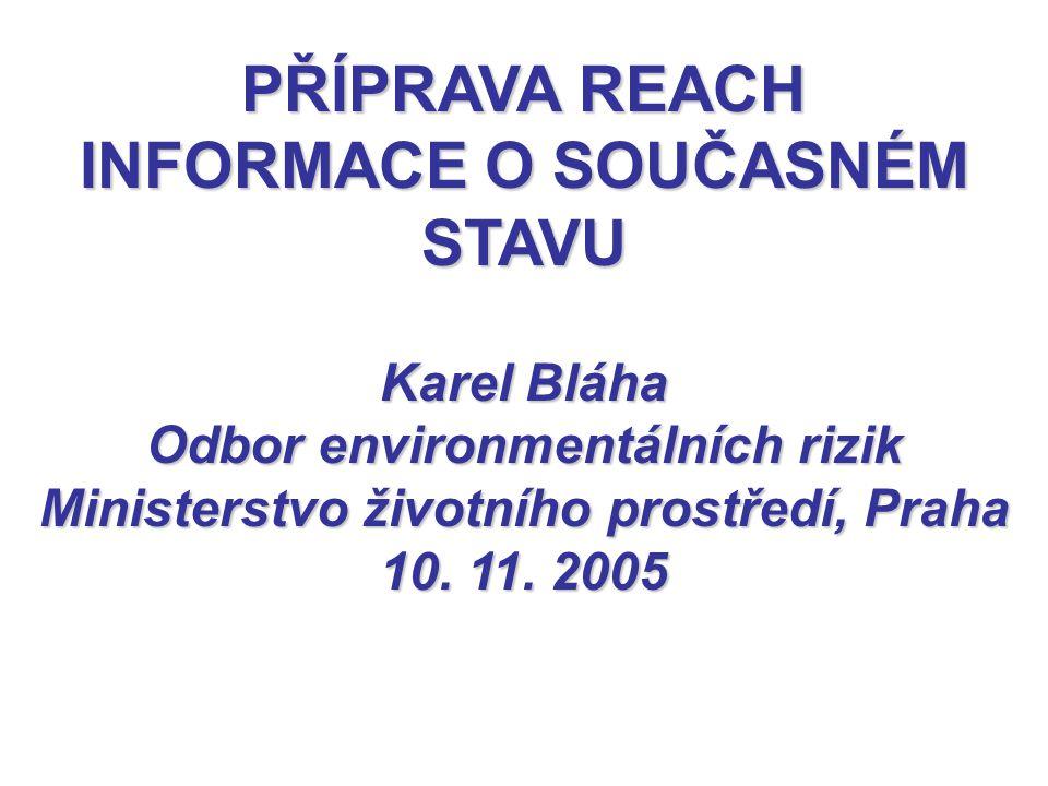 PŘÍPRAVA REACH INFORMACE O SOUČASNÉM STAVU Karel Bláha Odbor environmentálních rizik Ministerstvo životního prostředí, Praha 10. 11. 2005
