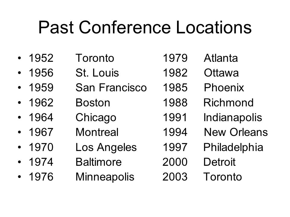 Past Conference Locations 1952 Toronto1979 Atlanta 1956St.
