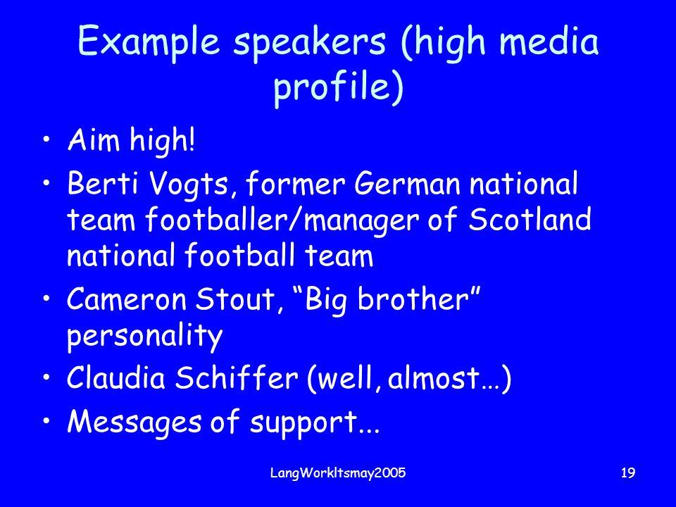 LangWorkltsmay200519 Example speakers (high media profile) Aim high! Berti Vogts, former German national team footballer/manager of Scotland national