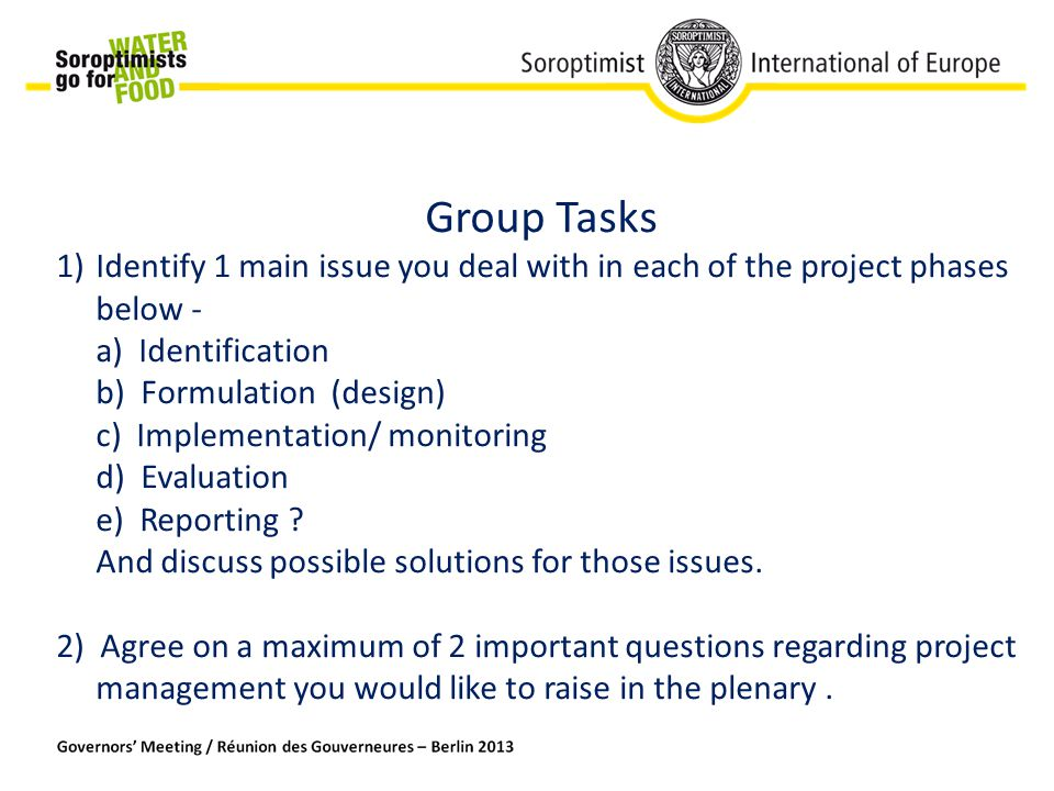 Group Tasks 1)Identify 1 main issue you deal with in each of the project phases below - a) Identification b) Formulation (design) c) Implementation/ monitoring d) Evaluation e) Reporting .