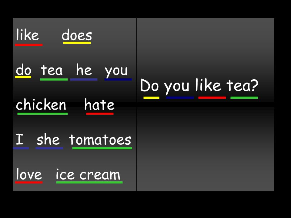 like does do tea he you chicken hate I she tomatoes love ice cream Do you like tea