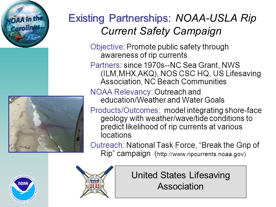 Existing Partnerships: Existing Partnerships: NOAA-USLA Rip Current Safety Campaign Objective: Promote public safety through awareness of rip currents Partners: since 1970s--NC Sea Grant, NWS (ILM,MHX,AKQ), NOS CSC HQ, US Lifesaving Association, NC Beach Communities NOAA Relevancy: Outreach and education/Weather and Water Goals Products/Outcomes: model integrating shore-face geology with weather/wave/tide conditions to predict likelihood of rip currents at various locations Outreach: National Task Force, Break the Grip of Rip campaign ( http://www.ripcurrents.noaa.gov) United States Lifesaving Association