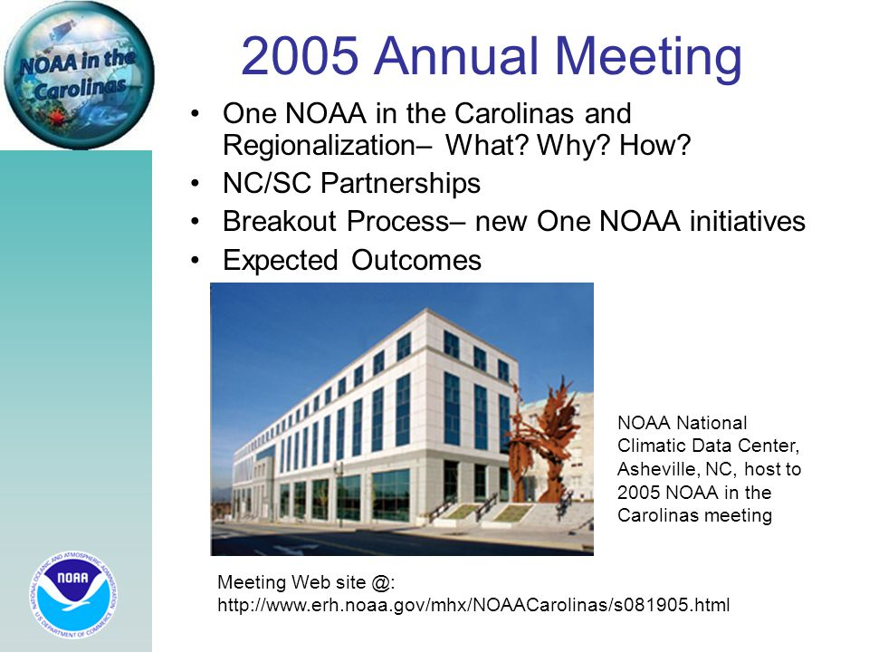 2005 Annual Meeting One NOAA in the Carolinas and Regionalization– What? Why? How? NC/SC Partnerships Breakout Process– new One NOAA initiatives Expec