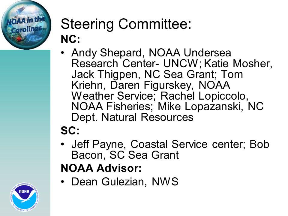 Steering Committee: NC: Andy Shepard, NOAA Undersea Research Center- UNCW; Katie Mosher, Jack Thigpen, NC Sea Grant; Tom Kriehn, Daren Figurskey, NOAA Weather Service; Rachel Lopiccolo, NOAA Fisheries; Mike Lopazanski, NC Dept.