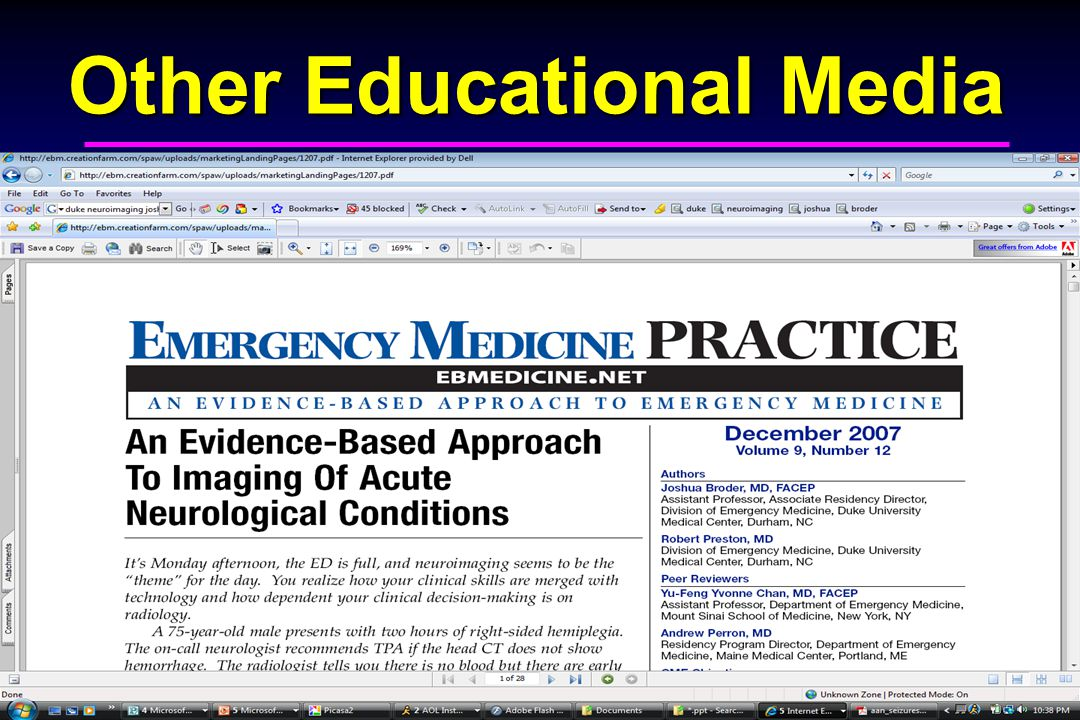 Edward P. Sloan, MD, MPH Other Educational Media