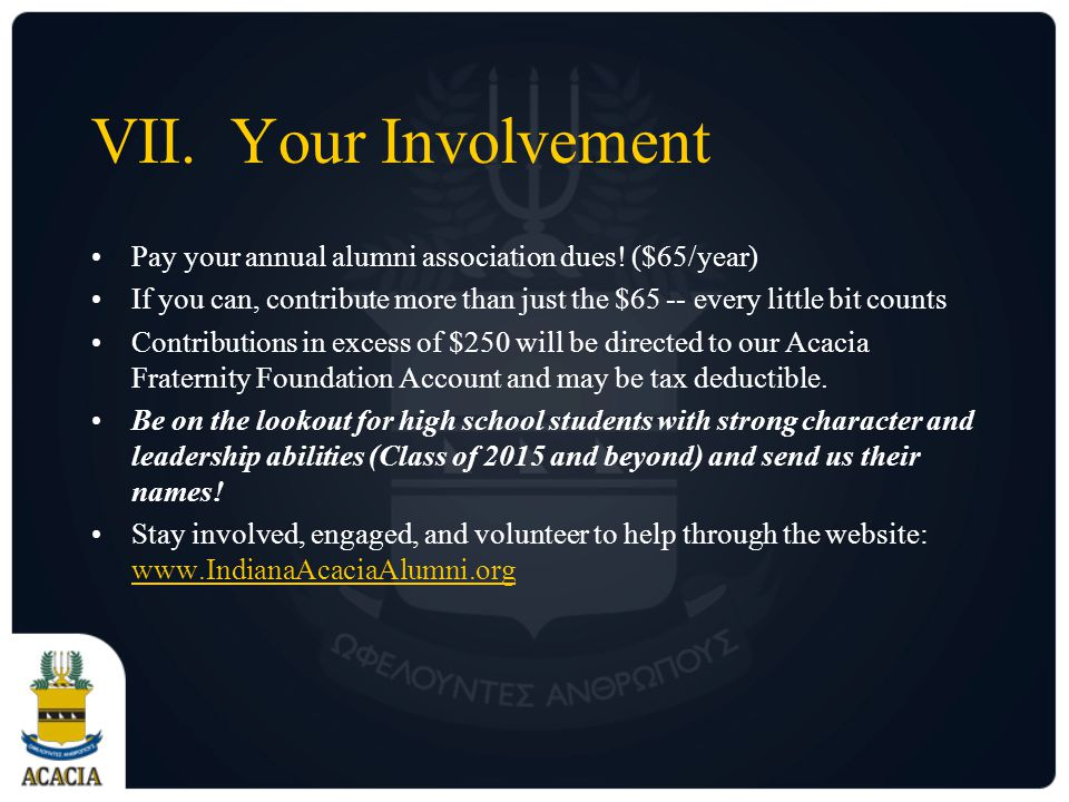 VII.Your Involvement Pay your annual alumni association dues.