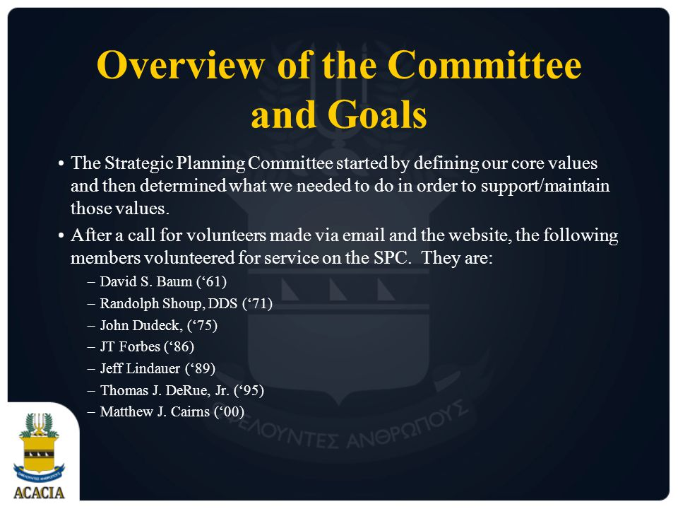 Overview of the Committee and Goals The Strategic Planning Committee started by defining our core values and then determined what we needed to do in order to support/maintain those values.