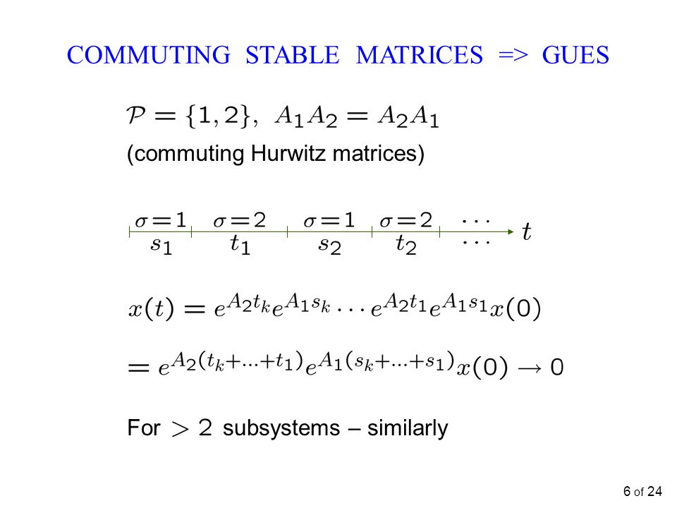 COMMUTING STABLE MATRICES => GUES For subsystems – similarly (commuting Hurwitz matrices) 6 of 24