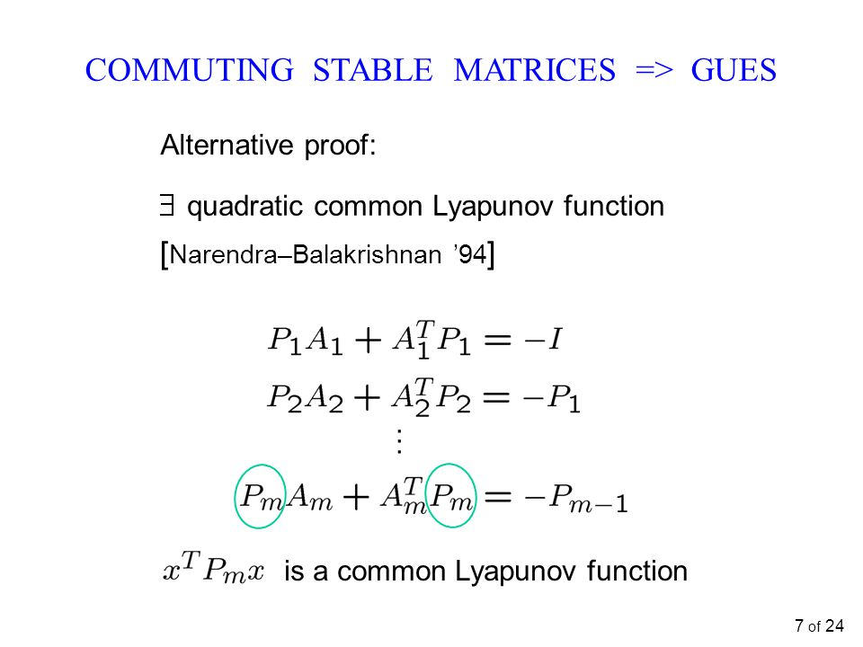 ...... quadratic common Lyapunov function [ Narendra–Balakrishnan '94 ] COMMUTING STABLE MATRICES => GUES Alternative proof: is a common Lyapunov func