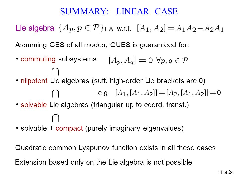 SUMMARY: LINEAR CASE Extension based only on the Lie algebra is not possible Lie algebra w.r.t. Quadratic common Lyapunov function exists in all these