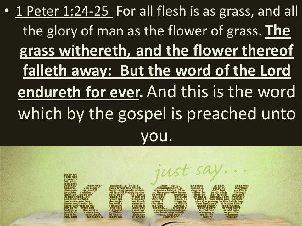 The grass withereth, and the flower thereof falleth away: But the word of the Lord endureth for ever.