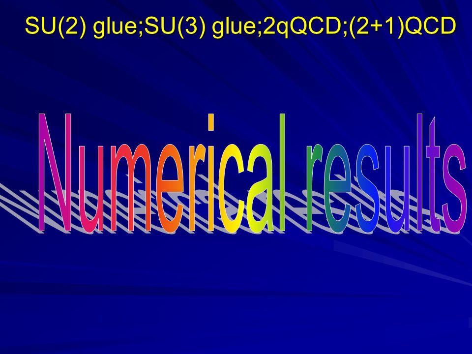 SU(2) glue;SU(3) glue;2qQCD;(2+1)QCD