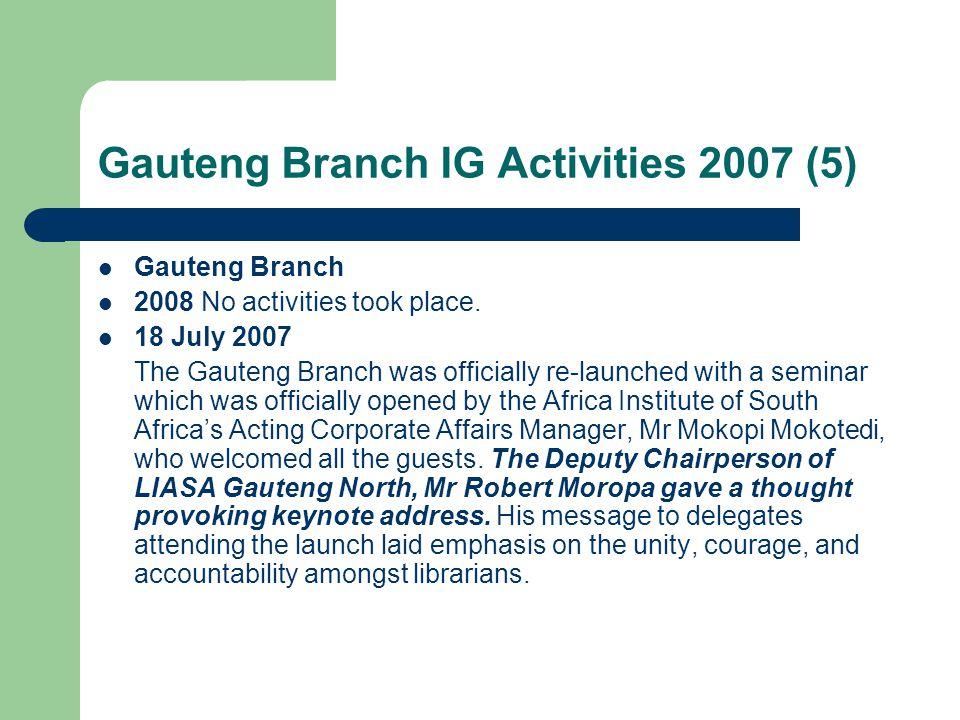 Gauteng Branch IG Activities 2007 (5) Gauteng Branch 2008 No activities took place.