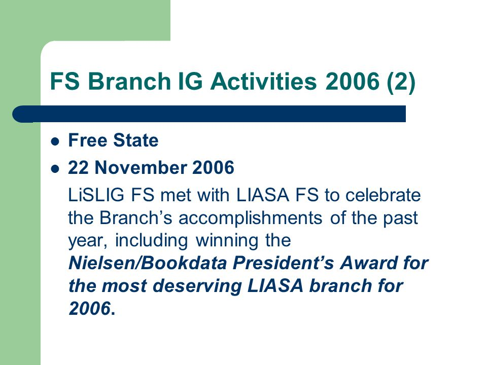 LiSLIG Membership The membership reports received from National Office on the dates shown in the previous slide were forwarded to the individual Branches.