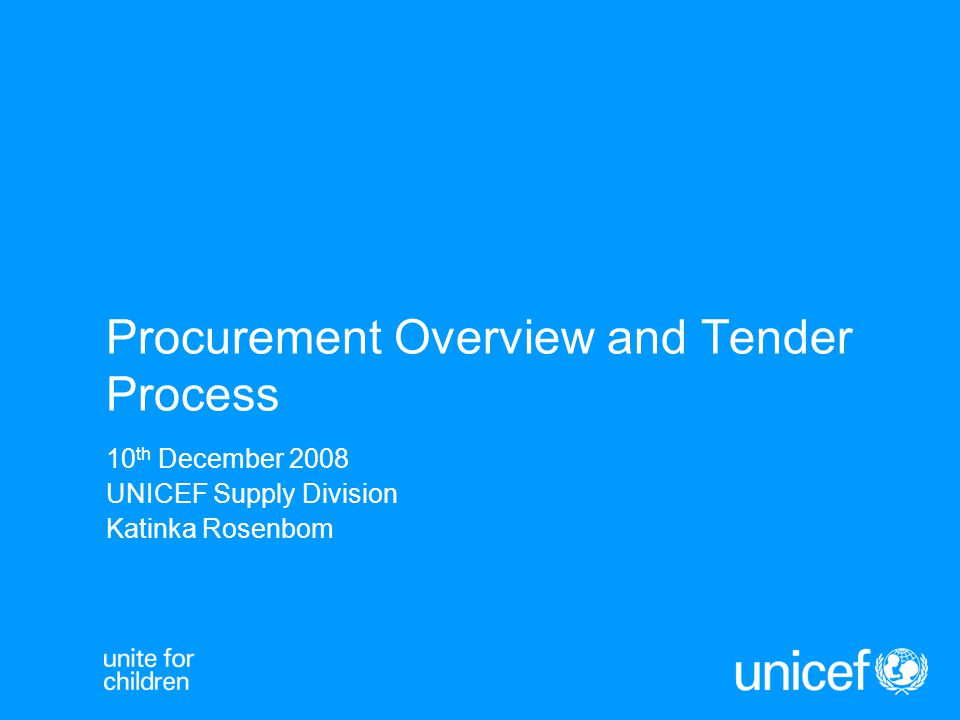 Topics UNICEF vaccine procurement principles, objectives and process Issues pertaining to the upcoming 2010-2012 tenders for BCG, DTP, TT/DT/Td, Measles, MMR, MR, HepB, DTP-HebB, DTP- HepB/Hib, Yellow Fever.