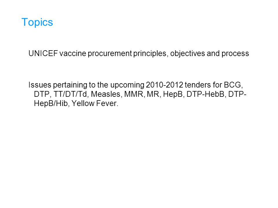 There are a number of activities undertaken to support Strategic and Operational Forecast accuracy Dedicated Unit within UNICEF Supply Division focusing on Vaccine forecasting Historical Forecast Accuracy Database – enabling a comparative review of the country's forecasting ability Forecast Accuracy Reports sent to Regional and Country Offices to monitor forecast performance and encourage improvement Budgets (Provisional Plans) sent to countries, providing countries with an overview of the financial requirements for the forecasted vaccine procurement for the year ahead Reviews of the Top 20 Countries forecasted demand requirements - their demand amounts to approximately 70% of the total demand Vaccine Security Missions, on invitation to advise countries on vaccine security, the vaccine market and vaccine forecasting Program and Donor Meetings, obtaining updates on program initiatives and donor funding Continuous Forecast Updates received from Countries and Global Initiatives enabling Monthly Supplier Updates of Forecast Demand to be issued providing manufacturers with an updated overview of the calendar years' forecast requirements