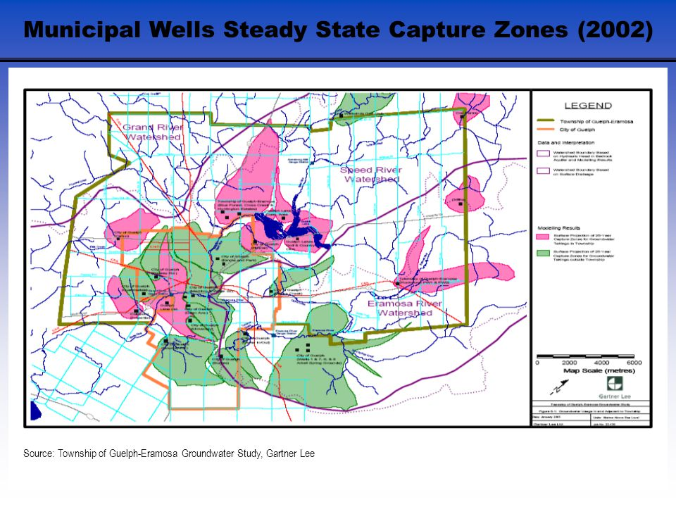 Municipal Wells Steady State Capture Zones (2002) Source: Township of Guelph-Eramosa Groundwater Study, Gartner Lee