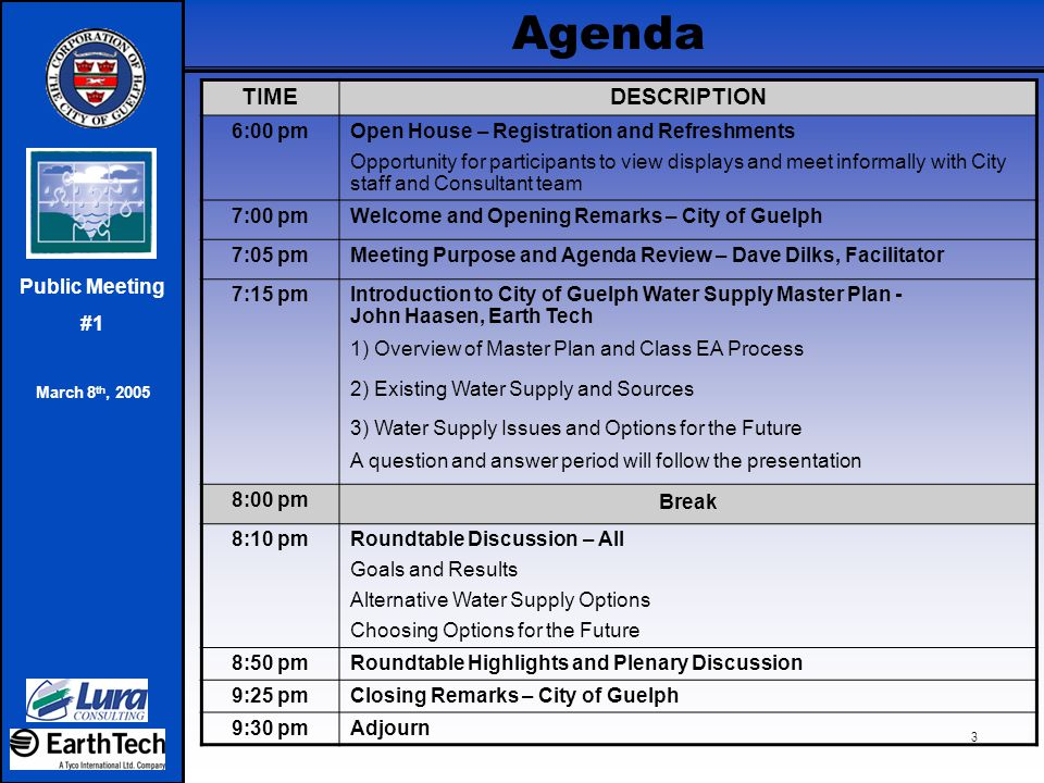 Public Meeting #1 March 8 th, 2005 4 Purpose of Today's Meeting  To introduce the City of Guelph Water Supply Master Plan project the public and stakeholders.