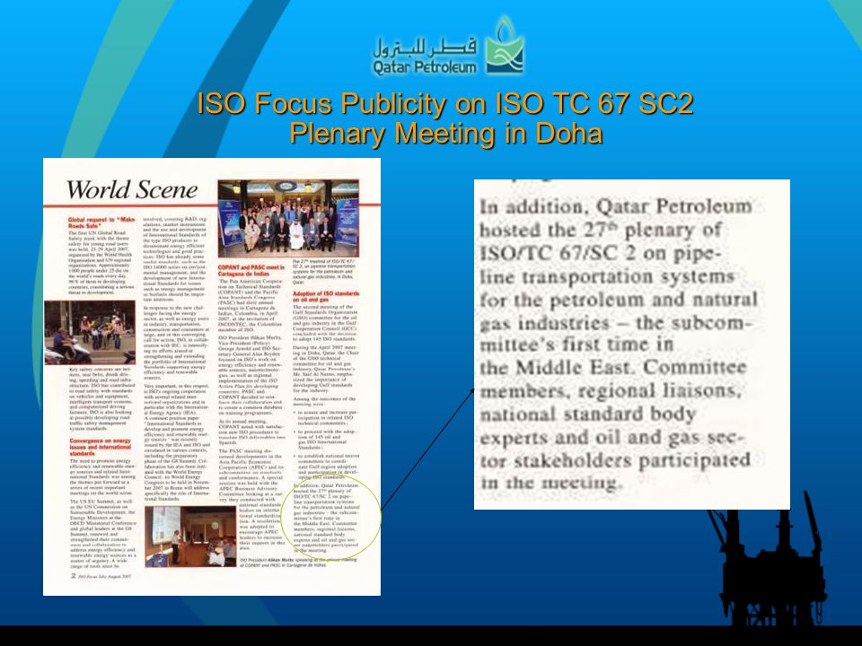 ISO Focus Publicity on ISO TC 67 SC2 Plenary Meeting in Doha